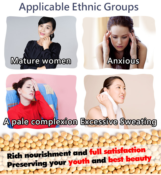 The target audience of BHK's isoflavones are mature women, anxious, complexion and excessive sweating women