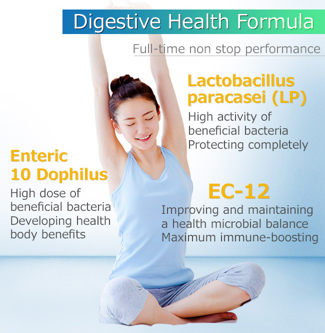 BHK's probiotics are contains by enteric 10 dophilus, lactobacillus paracasei and EC-12
