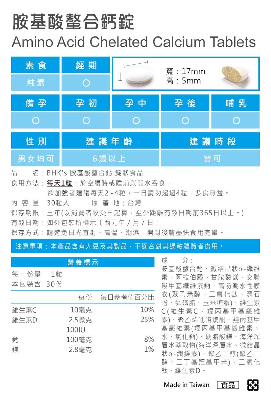 BHK's胺基酸螯合鈣通過安全檢驗,安全無慮,無副作用