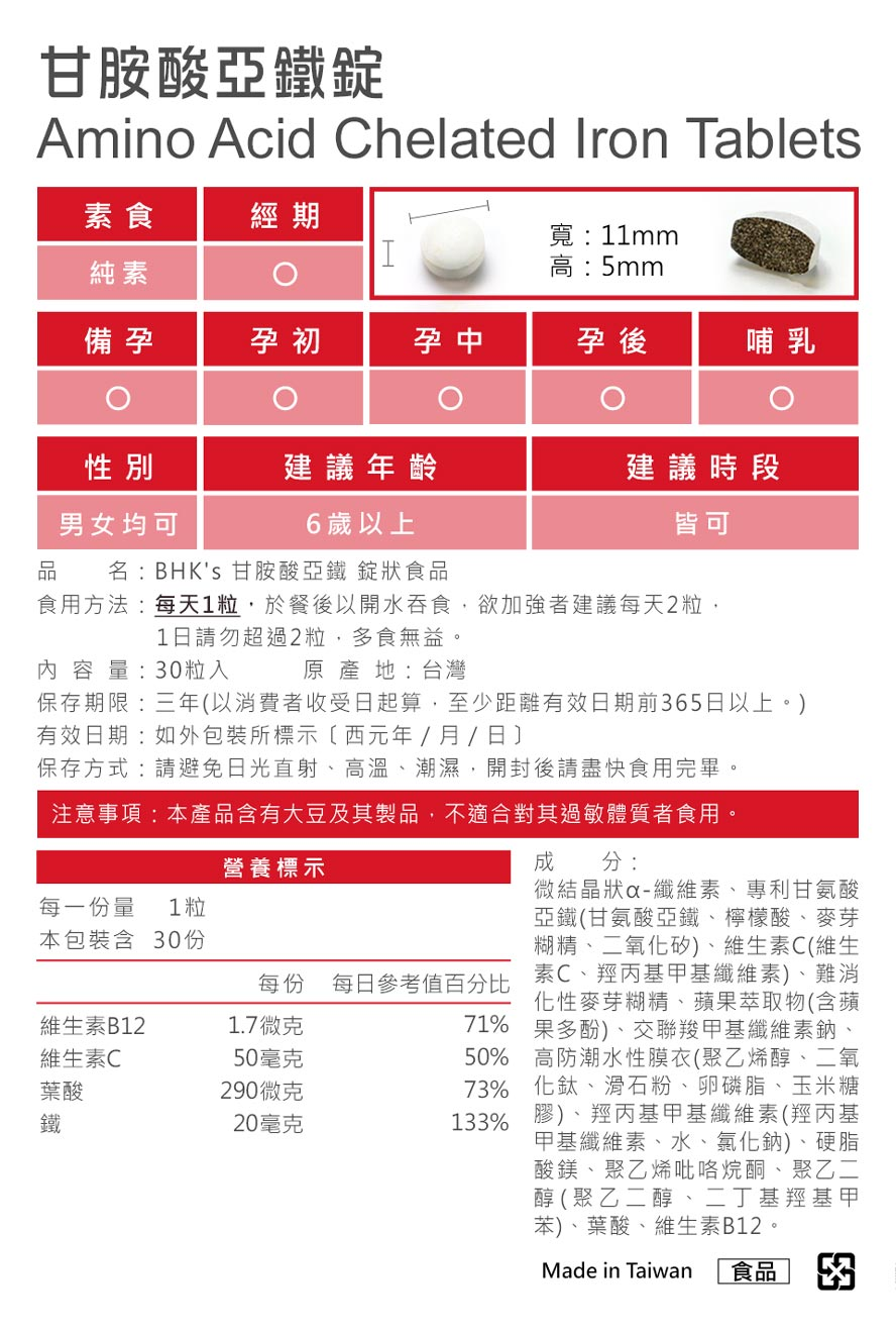 BHK's甘胺酸亞鐵通過各種檢驗,安全無疑慮,無副作用。