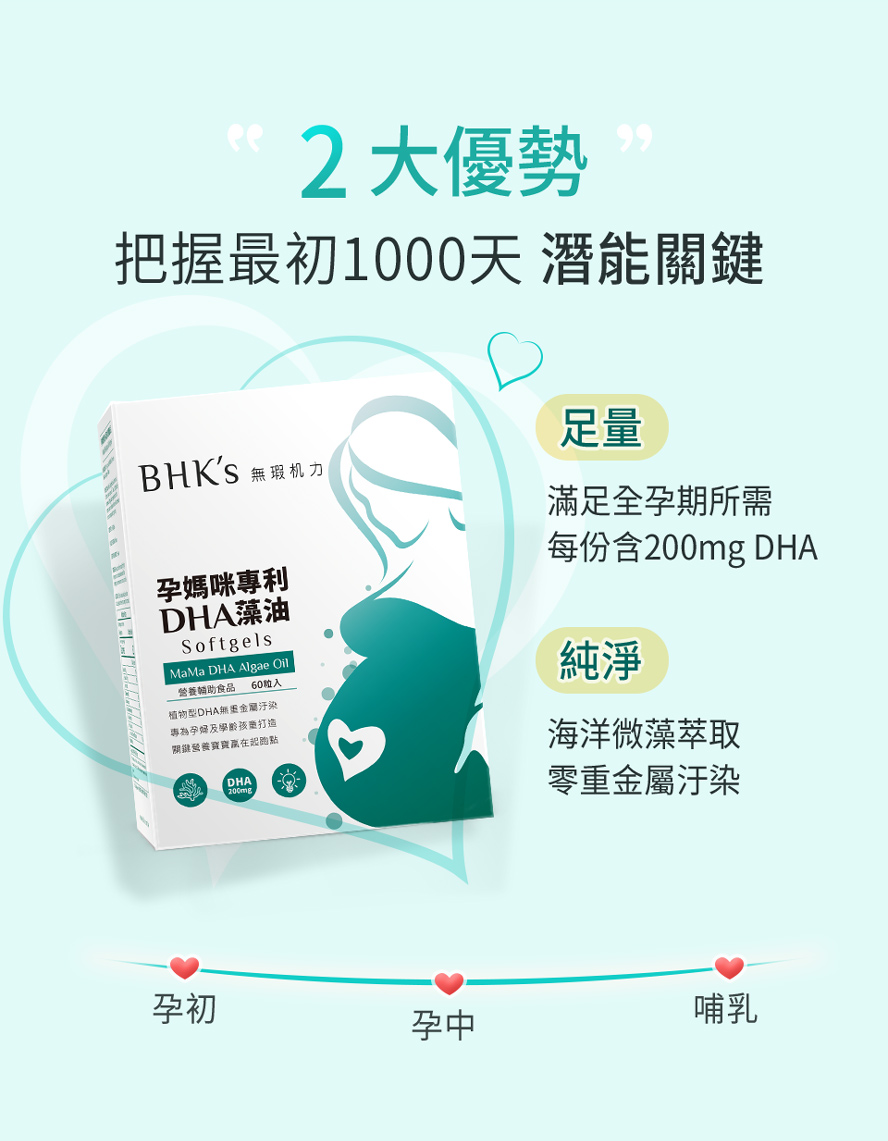 BHK's孕媽咪專利DHA藻油嚴選海洋微藻,無汙染