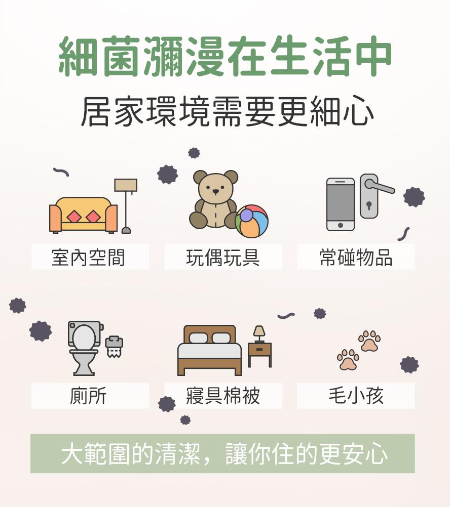 BHK's次氯酸噴霧可噴灑於室內環境、玩具嬰幼兒幼品、手機、廁所等等。