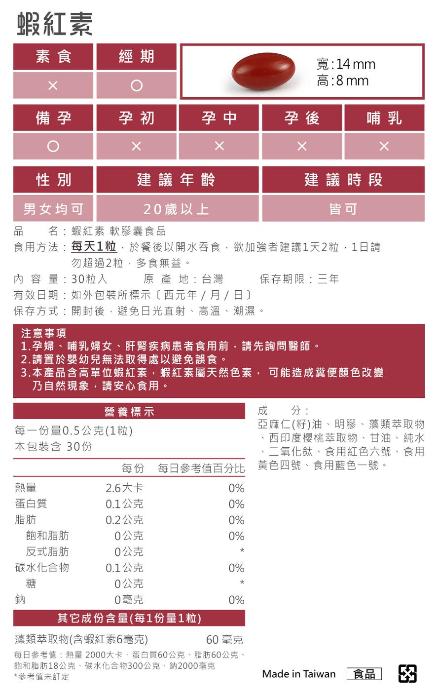 BHK's蝦紅素通過安全檢驗不含重金屬,安全無慮、無副作用