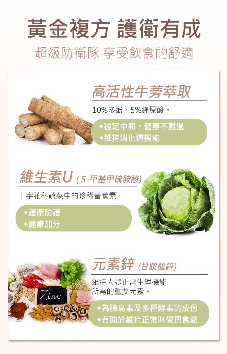 BHK's牛蒡為帶皮牛蒡,多酚大於10% 綠原酸大於5%,添加維生素U跟鋅,舒緩胃痛不適感。
