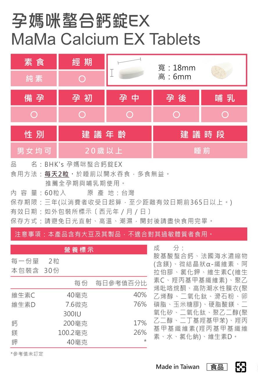 BHK's孕媽咪螯合鈣、綜合維生素通過安全檢驗,安全無慮,無副作用