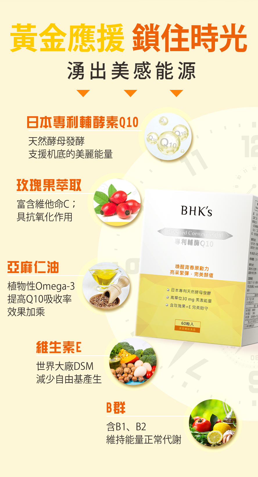 BHK's輔酶Q10+E使用日本專利天然酵母發酵,支援肌底美麗