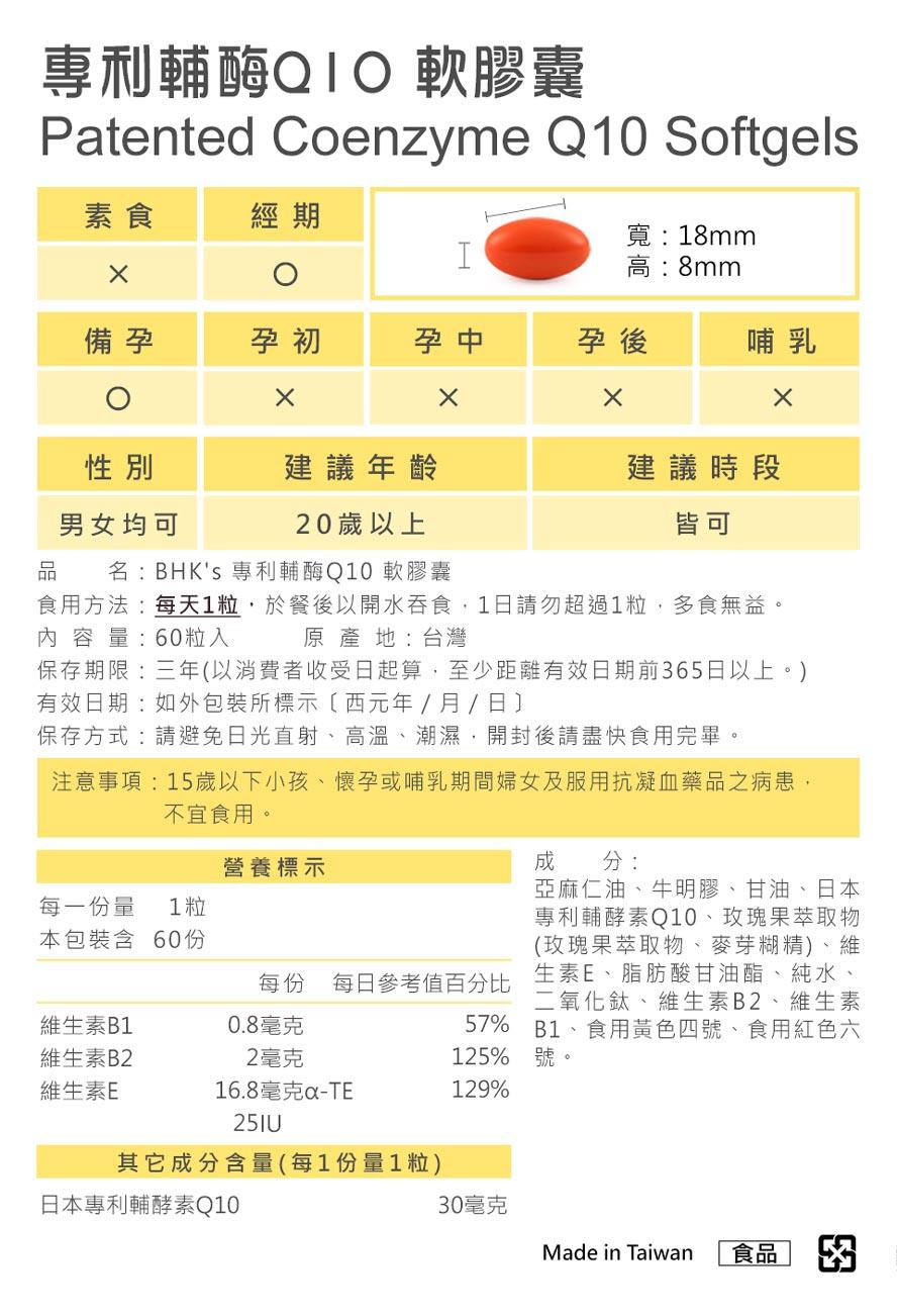 BHK's輔酶Q10+E通過安全檢驗,安全無慮,無副作用