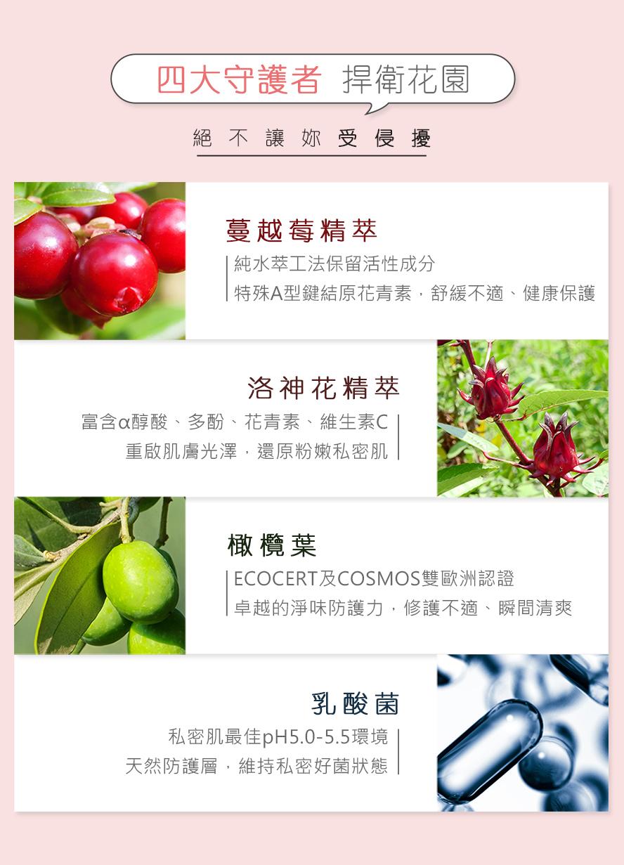 BHK私密潔淨慕斯有四大守護者捍衛你的私密健康,蔓越莓、洛神花、橄欖葉、乳酸菌