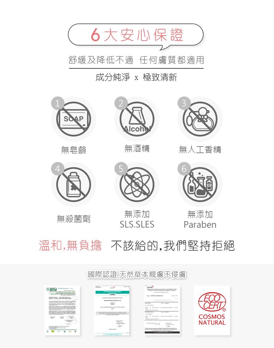 BHK's私密潔淨慕斯6大安心保證,無皂鹼、無酒精、無人工香精、無殺菌劑、無SLS,SLES、無添加Paraben