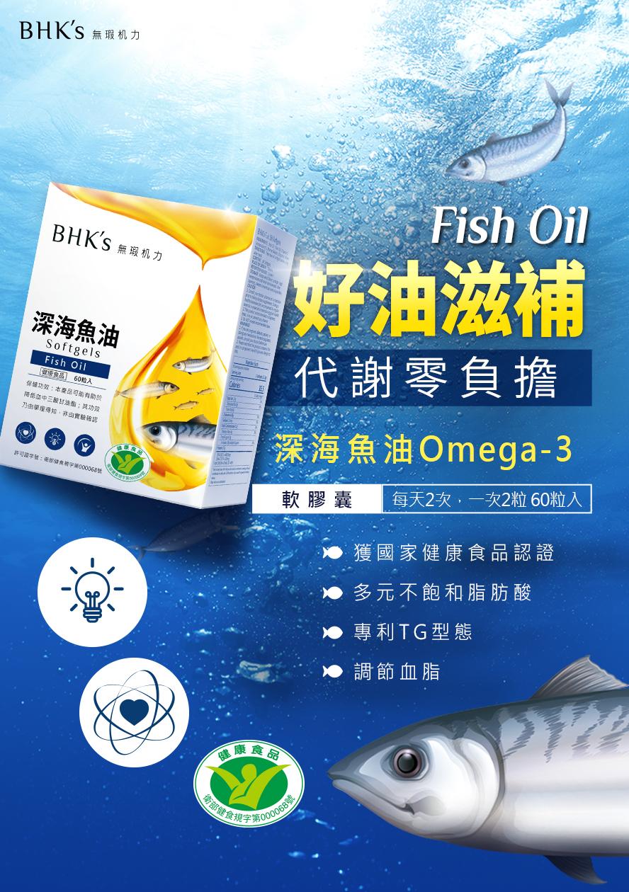 BHK's深海魚油軟膠囊,採用TG型態更好吸收,調節血脂、促進代謝。