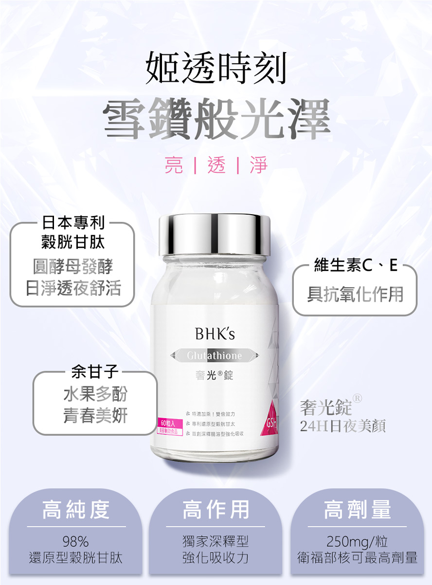 BHK's奢光錠提升肌膚透亮,幫助亮白,元氣代謝養顏美容,健康活力以及幫助入睡