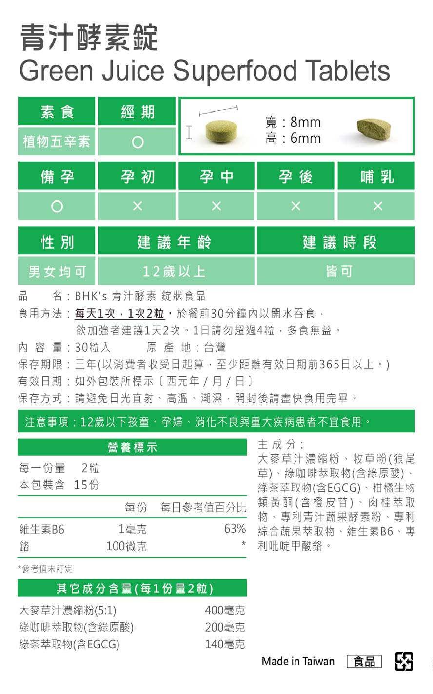 BHK's青汁酵素錠通過安全檢驗,安全無慮,無副作用。
