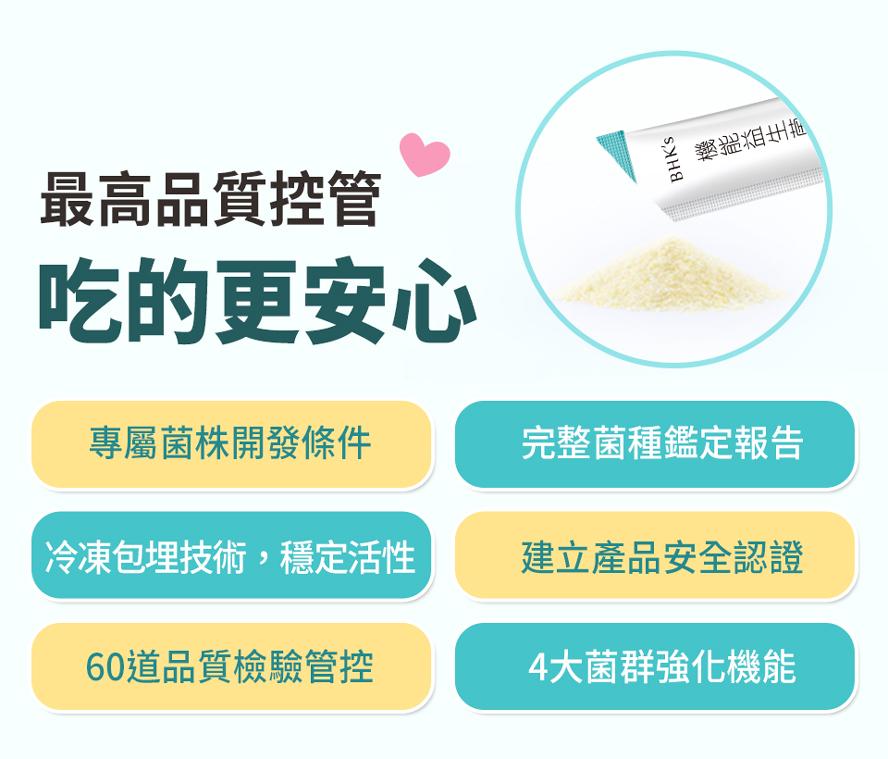 BHK機能益生菌高品質控管,專屬菌株開發條件,完整菌種鑑定報告,安心食用。
