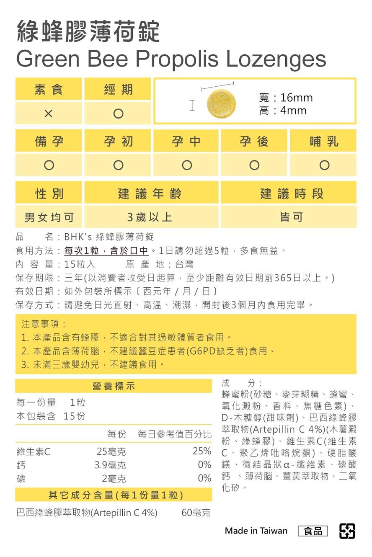 BHK's綠蜂膠薄荷錠通過安全檢驗,安全無慮,無副作用。