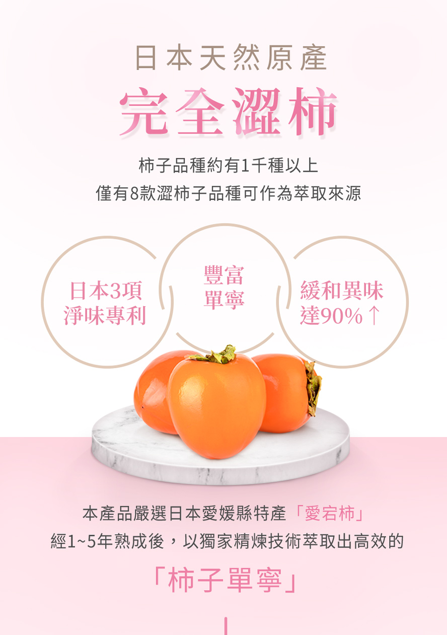 BHK's玫瑰香萃膠囊使用日本愛媛縣特產愛宕柿,含有大量豐富的單寧成分,有效去除體內臭味。