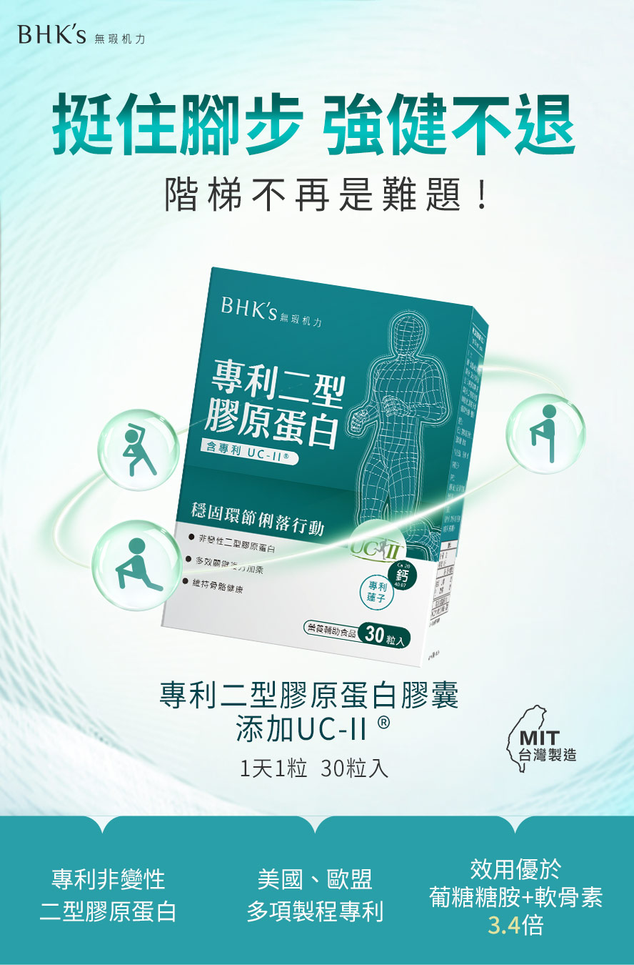 BHK's固喀膠囊採用專利UCII有效預防關節炎。