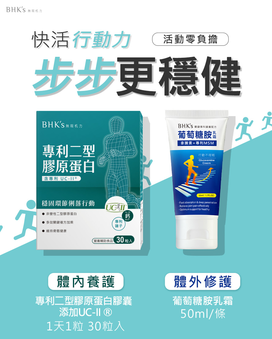 BHK's專利UCII、葡萄糖胺乳霜有助於深層活化,修護關節。