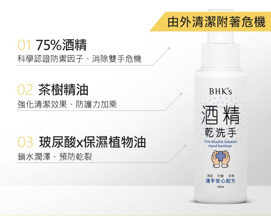 BHK's酒精乾洗手為台灣製造,75%酒精,添加玻尿酸保濕以及茶樹精油加強清潔效果。