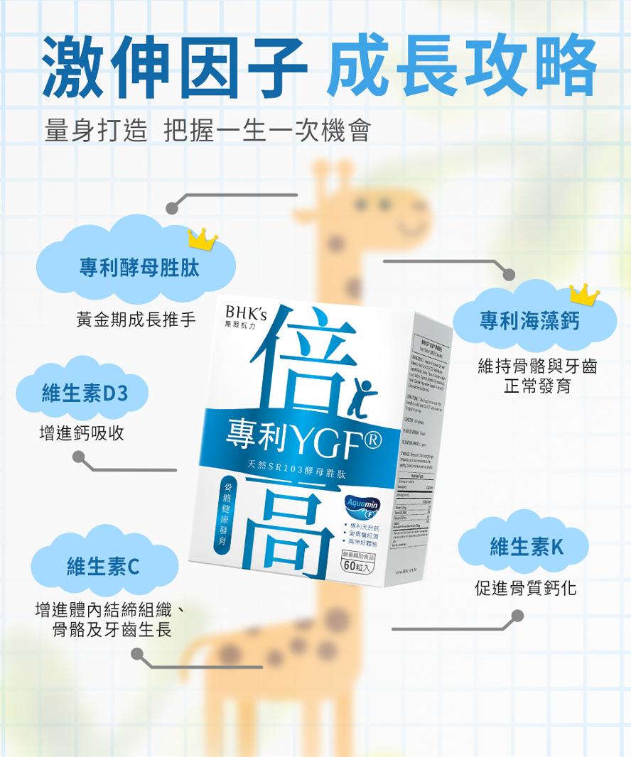 BHK's專利YGF®倍高膠囊獨家專利配方,有效拉高身材