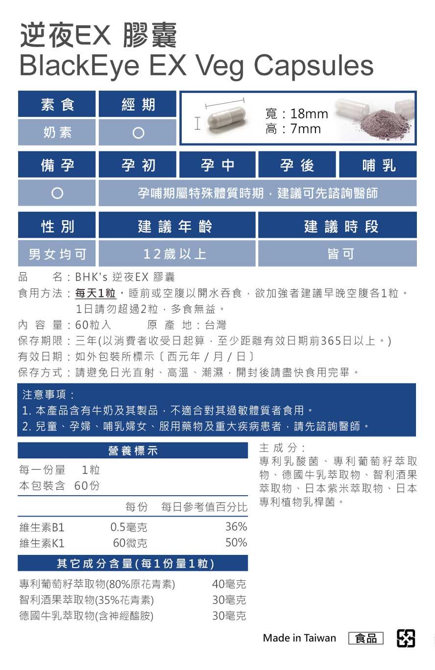 BHK's夜萃EX膠囊和BHK's逆夜EX膠囊通過安全檢驗,安全無慮,無副作用。