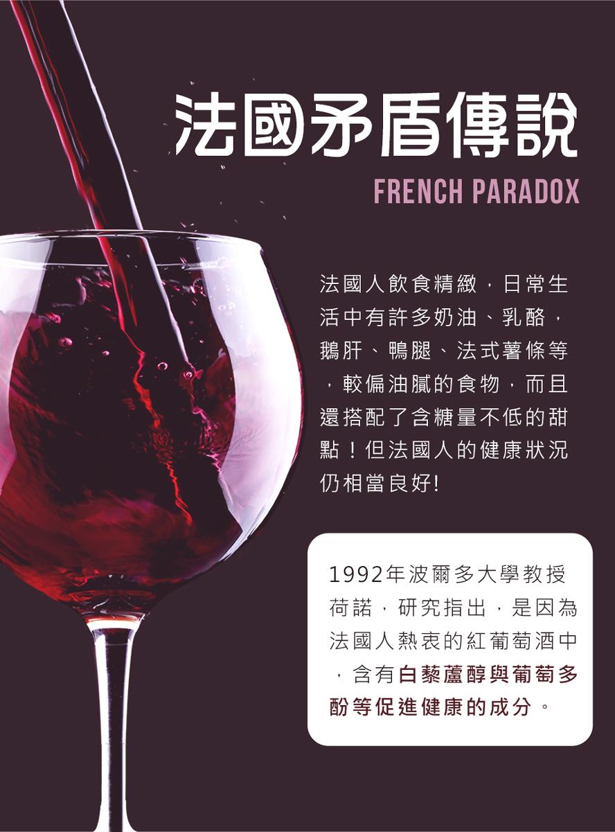 BHK's白藜蘆醇萃取自頂級法國紅葡萄酒,具有抗氧化,抗衰老的作用