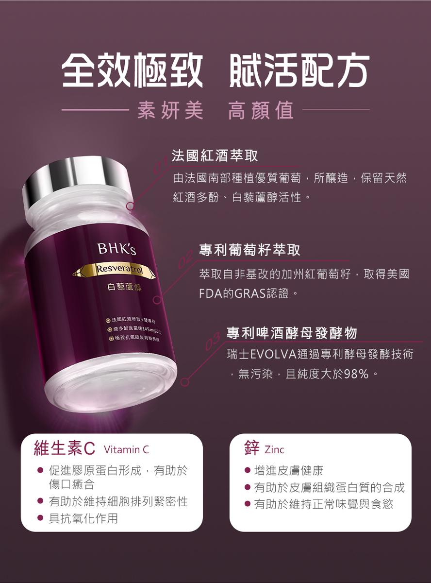 BHK's白藜蘆醇打造健康美麗,擁有活力青春