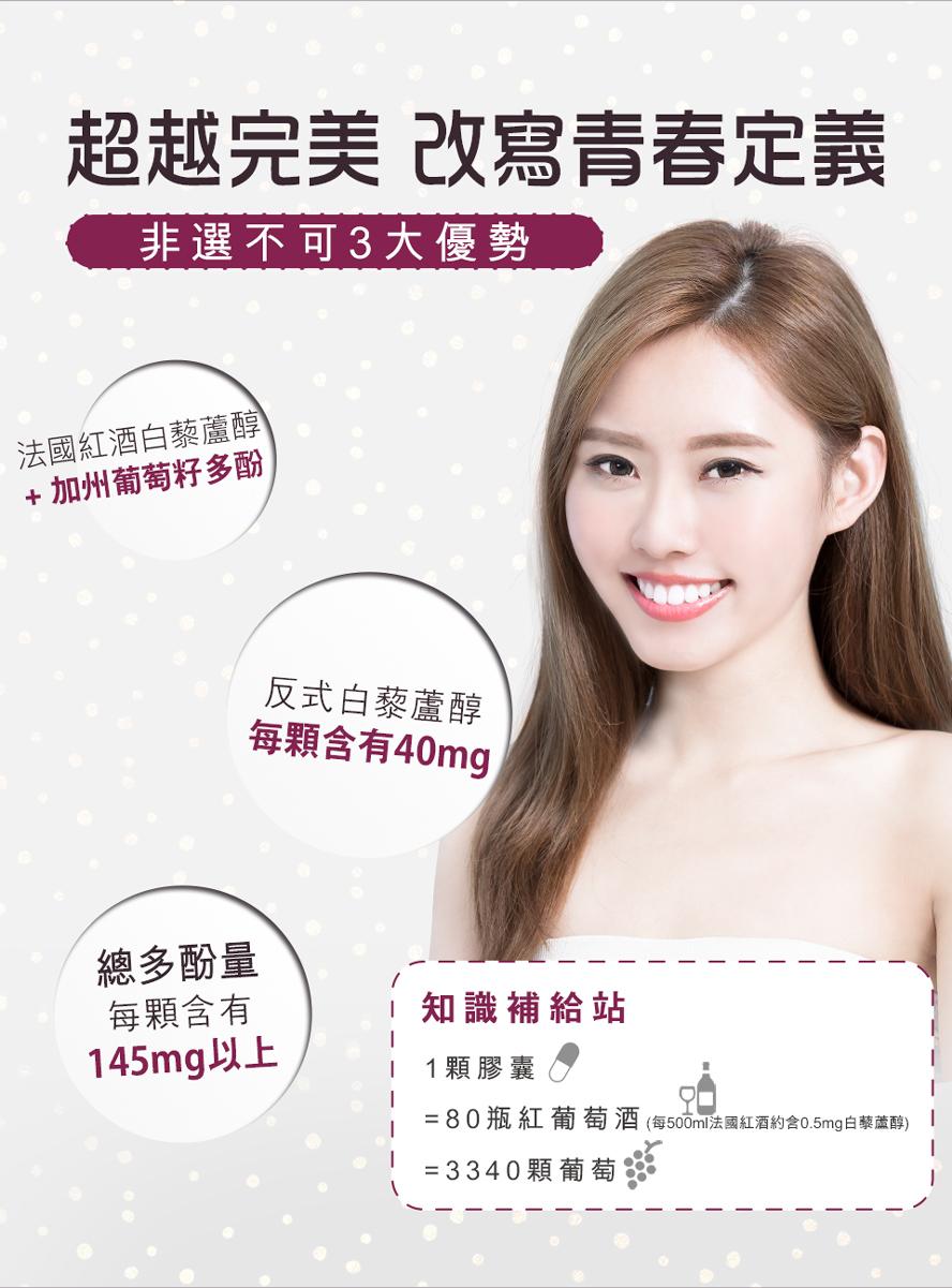 BHK's白藜蘆醇添加維生素C、鋅,促進膠原形成,維持皮膚健康
