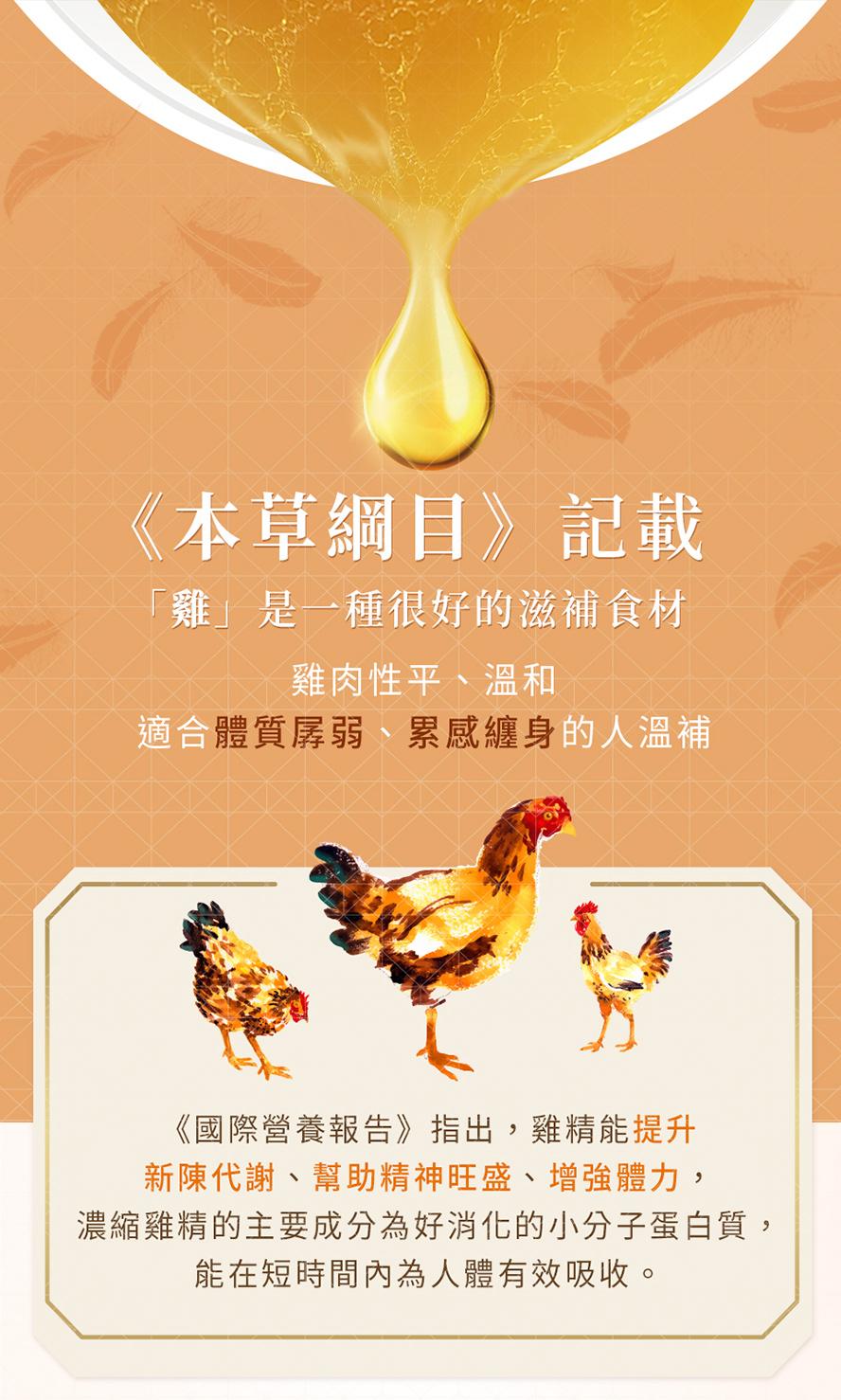 國際營養報告研究指出,雞精能提振精神、維持健康;而濃縮雞精的主要成分就是好消化的小分子蛋白質,飲用後能在短時間內為人體有效吸收,非常適合體質虛弱者食用。