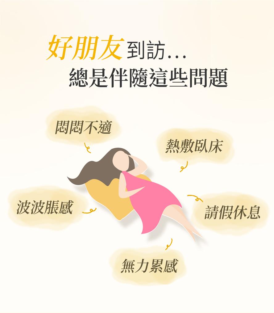 經痛症狀有哪些?下腹疼痛、肚子痛、頭暈、拉肚子、嘔心想吐、腰痠背痛等等,建議可食用月見草油來改善。