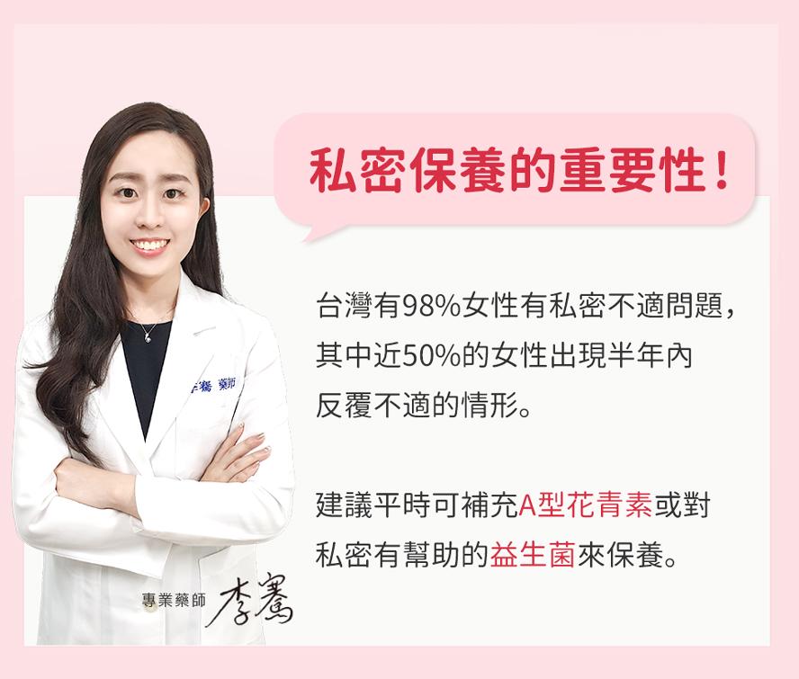 台灣有98%女性有私密處不適感染問題,近50%的女性出現半年內反覆感染的情形;每個女性都應該注重私密保養。