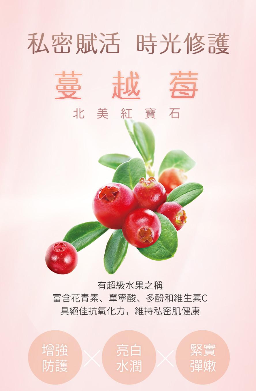 BHKs私密保養噴霧,使用北美蔓越莓,富含花青素與單寧酸,有助於保護私密處不受感染。