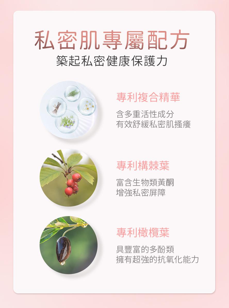 BHK私密噴霧選用3大專利草本配方,舒緩搔癢、維持酸鹼平衡、改善不適,降低婦科發炎狀況。