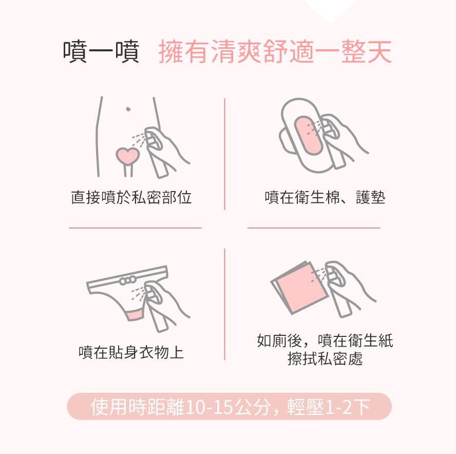 BHK私密保養噴霧可直接噴於私密部位上,亦可噴於內褲、衛生棉墊或衛生紙上。