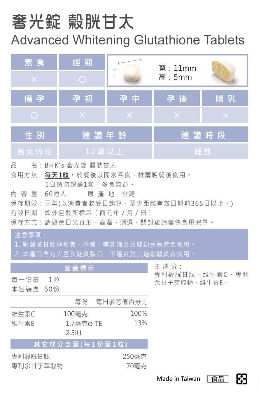 BHK's奢光錠通過安全檢驗,安全無慮,無副作用