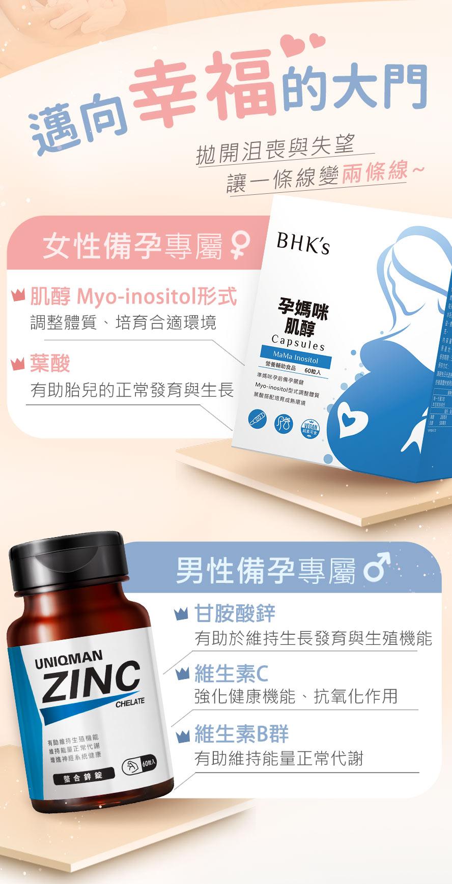 專月藥師建議,女性備孕補充BHKs 肌醇,使卵子發育更為成熟,提高受精率,也增加受孕的機會。男性備孕補充UNIQMAN胺基酸螯合鋅,增加精子質量、提升體力和精力。