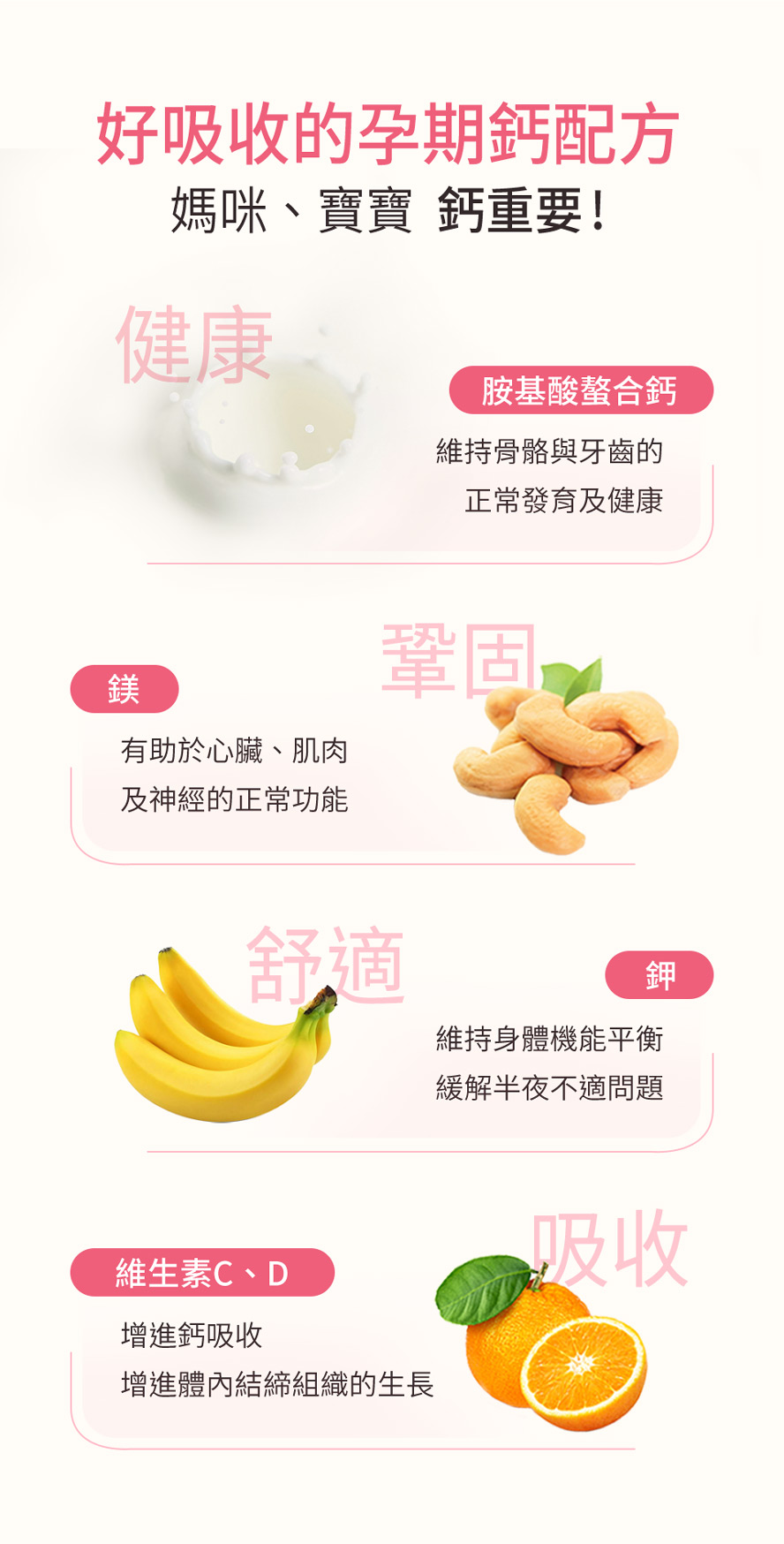 BHK孕媽咪螯合鈣,嚴選最高吸收率的胺基酸螯合鈣,添加維他命D、維他命C增進鈣質吸收,頂級配方完勝市售。