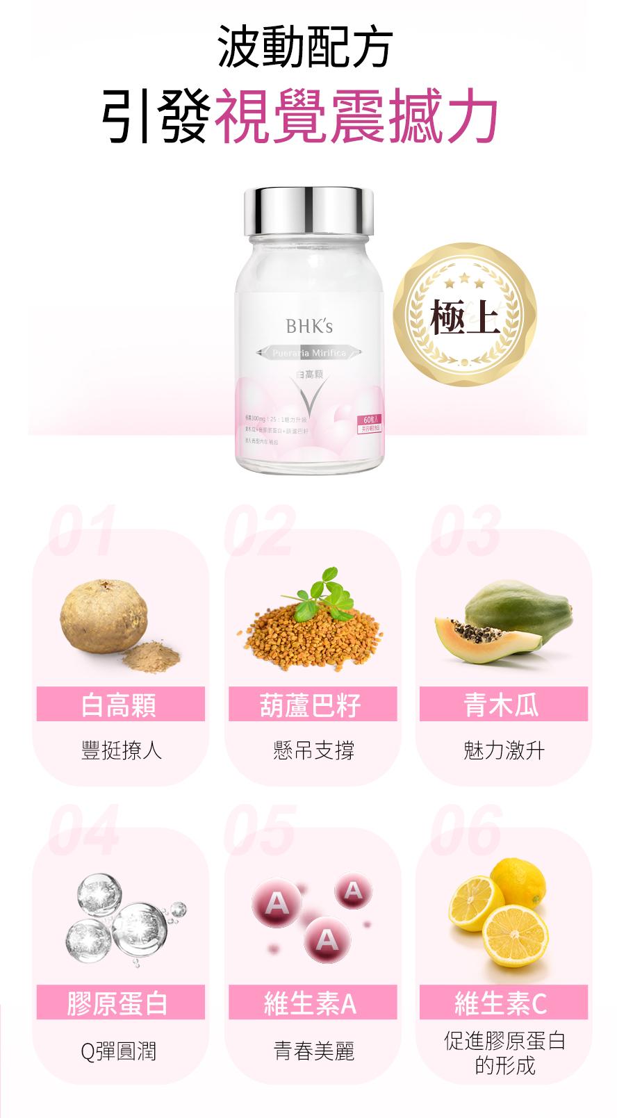 BHKs白高顆含有高濃度異黃酮素,可調節女性生理機能、促進胸部發育的功用,添加青木瓜、葫蘆巴籽、膠原蛋白,提升胸部緊實度,改善外擴下垂。