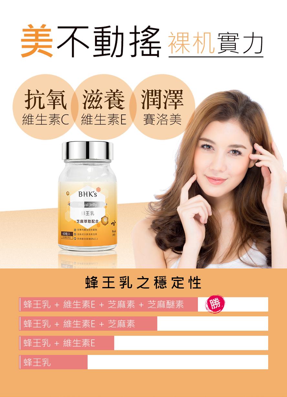 BHK's蜂王乳錠頂級高品質配方,富含賽洛美與維他命E,撫平皺紋、年輕抗老。