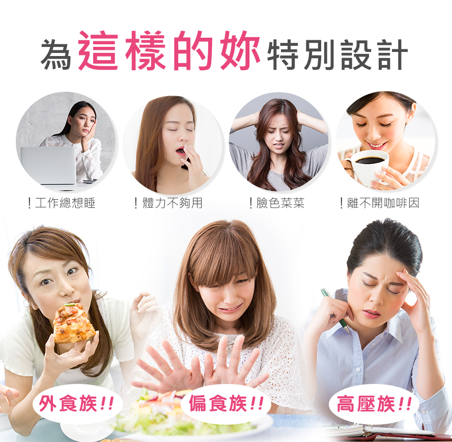 體力不支、氣色不好、咖啡成癮、外食族、睡不飽的人推薦食用BHK's維他命B群。