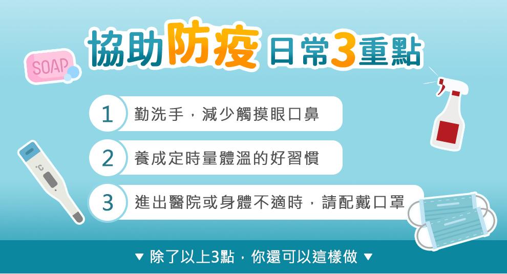 防疫三重點:勤洗手且減少觸摸眼口鼻,養成定時量體溫的好習慣,身體不適,進出醫院,配戴口罩.