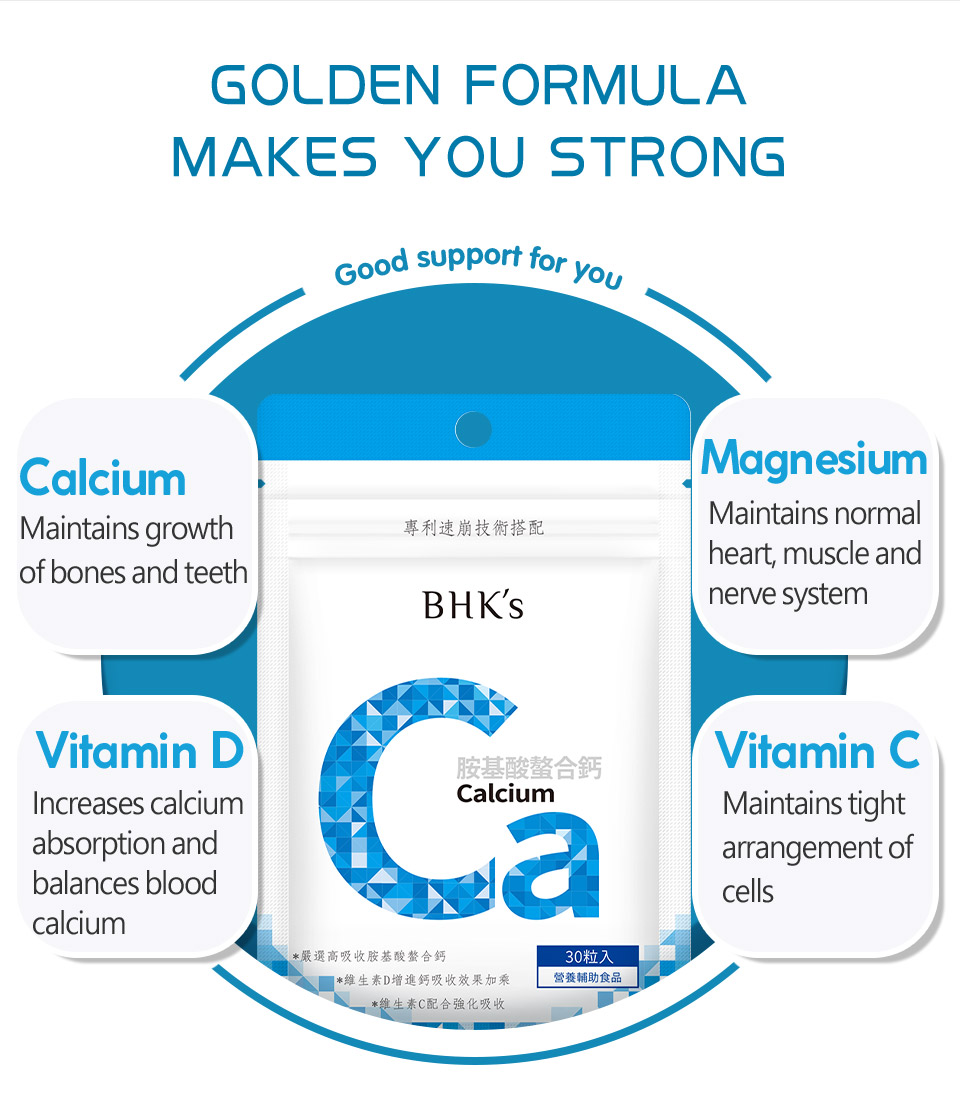 BHK's calcium are exclusive essence of health, which contain Ca, magnesium and vitamin D&C