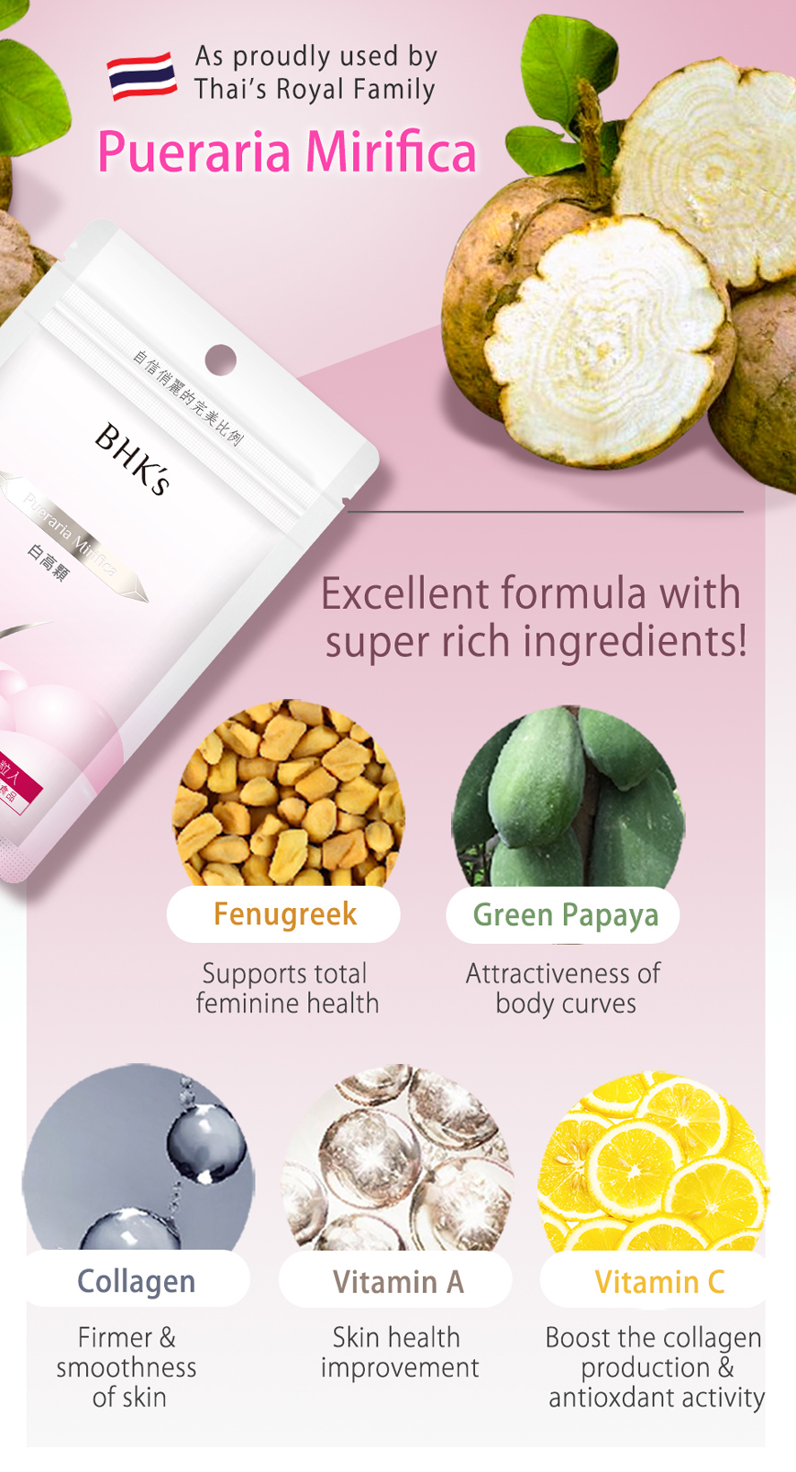 BHK's Pueraria Mirifica firms up and stimulates the growth of breast tissues just as a second youth