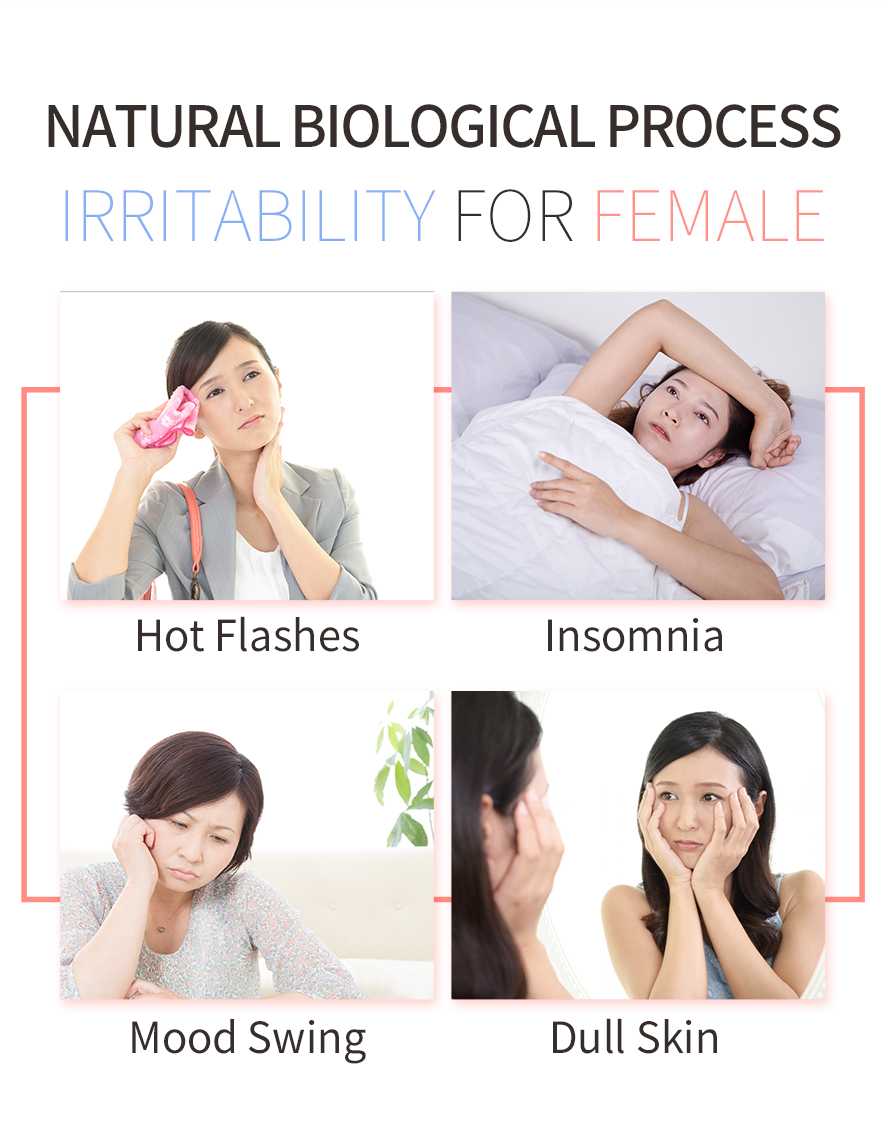 Dull skin, bad sleep quality, insomnia, hot flash are the common menopausal symptoms