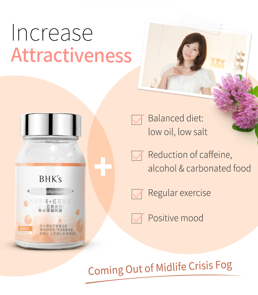 BHK Isoflavones with regular exercise and balanced diet can reduce menopausal discomforts