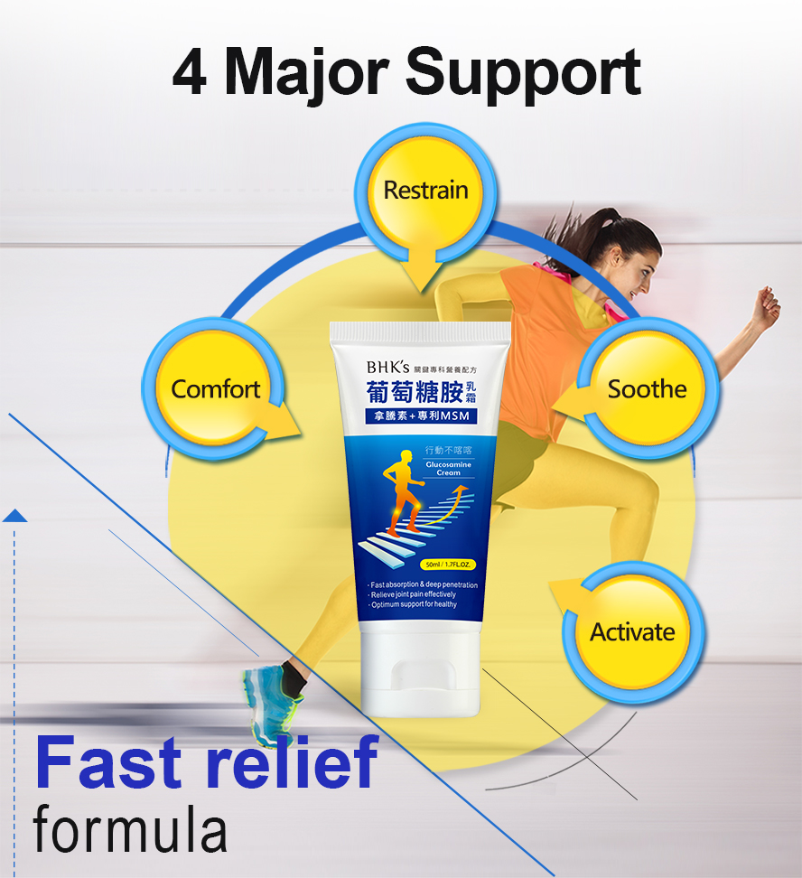 BHK's Glucosamine cream bring fast relief for overworked joints and muscles