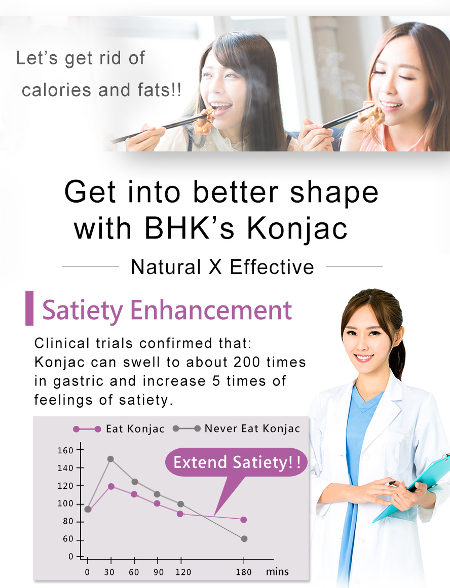 BHK's Konjac expands in the stomach to help keep you full.