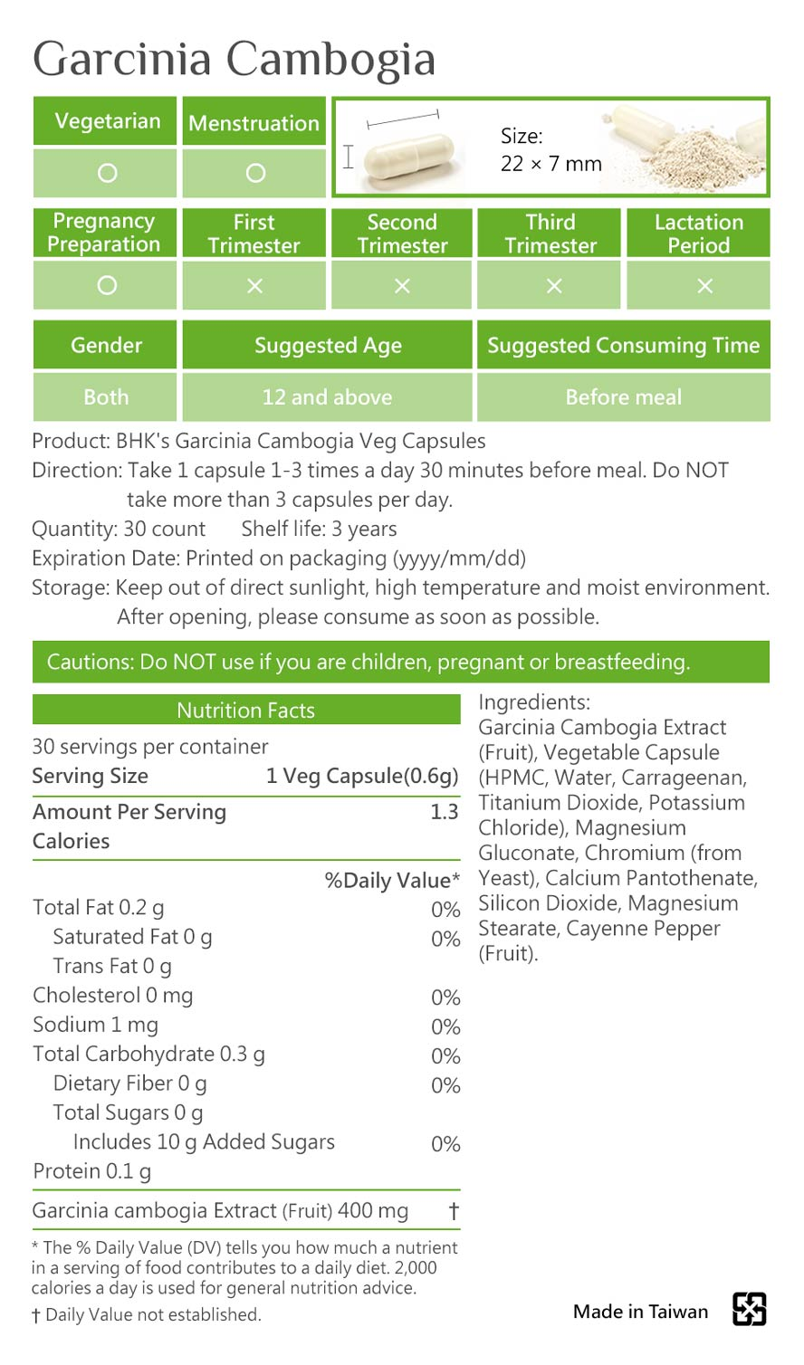 BHKs Garcinia cambogia is safety inspection, No side effects, natural ingredients.