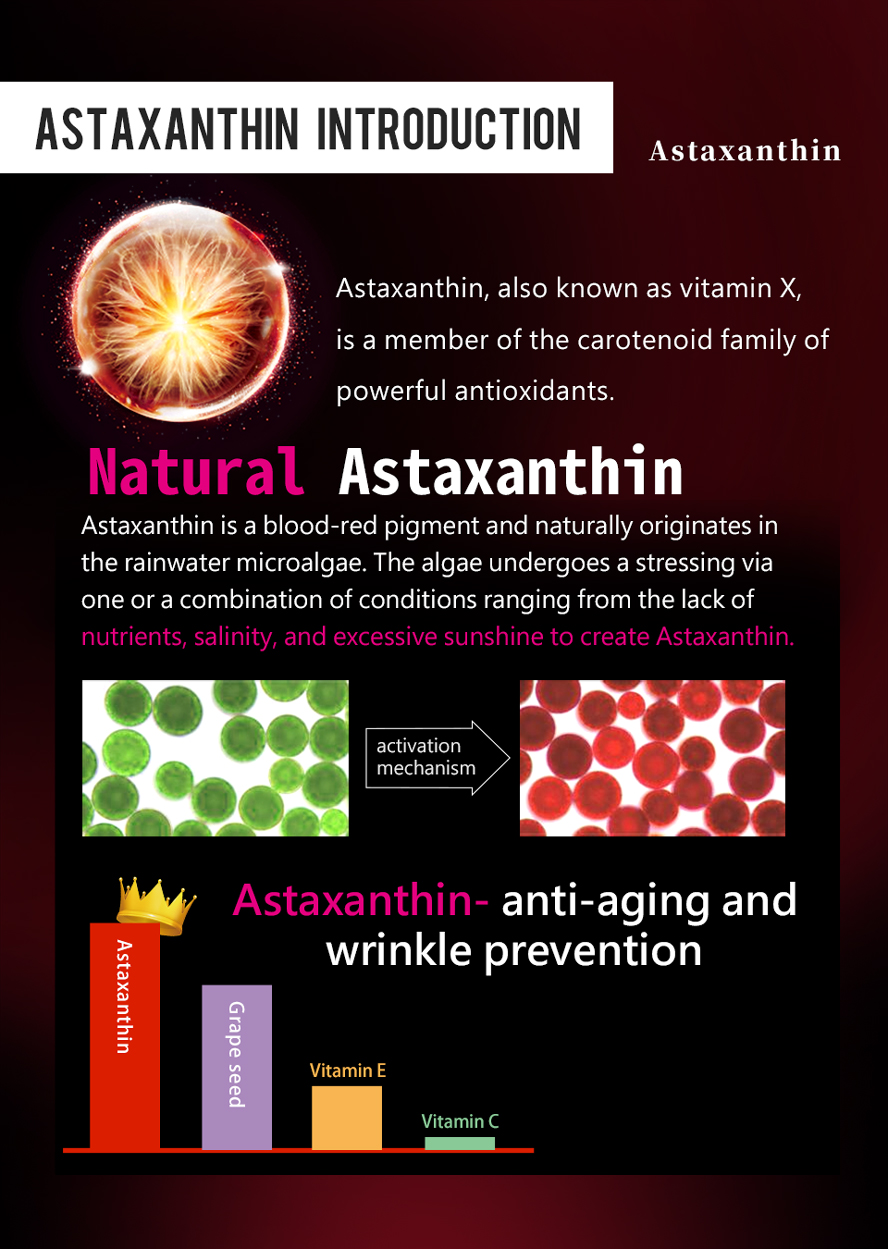 BHK Astaxanthin  is a very strong antioxidant.It is applied directly to the skin to protect against sunburn, to reduce wrinkles.