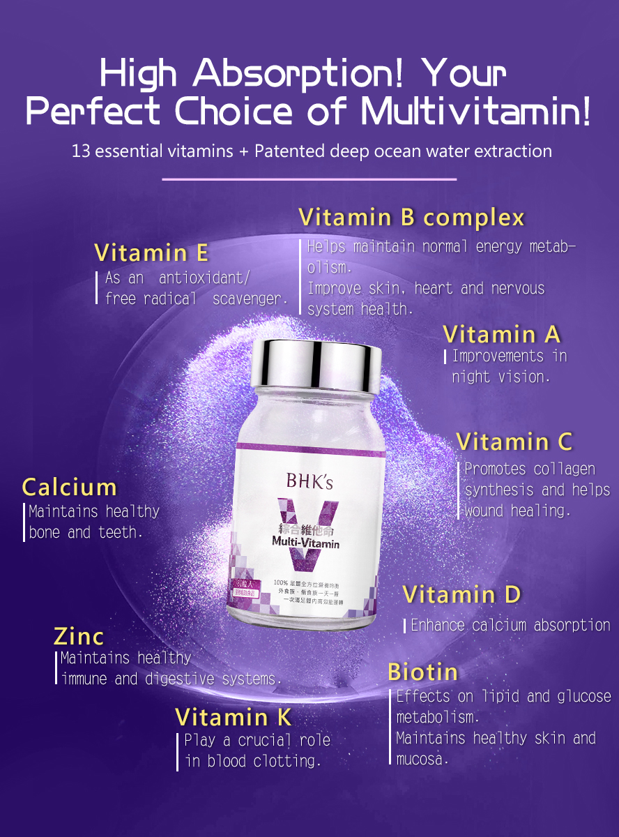 BHK's multi vitamins consists of 13 types of vitamins and deep ocean minerals for body needs