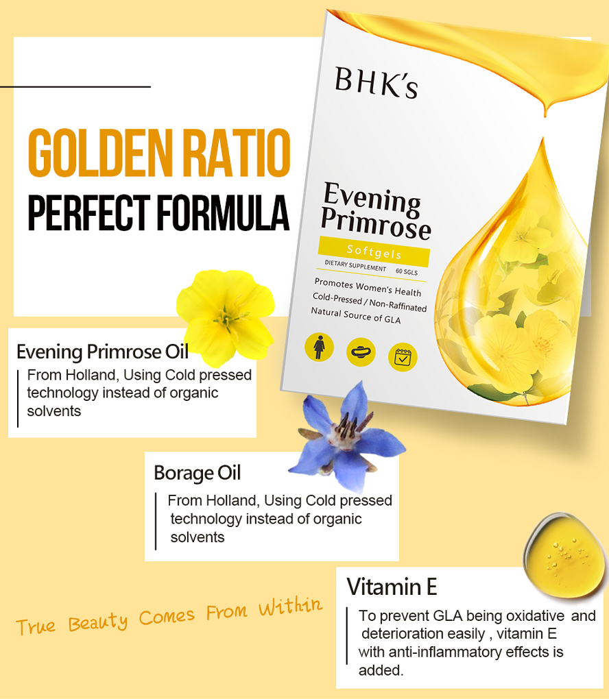BHK's EveningPrimrose provide nutritients like Evening Primrose Oil, Borage Oil, and Vitamin E